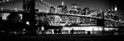Suspension bridge lit up at dusk, Brooklyn Bridge, Manhattan, NY