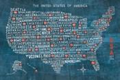US City Map on Wood Blue