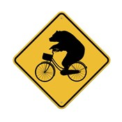 Bears On Bikes Crossing Sign