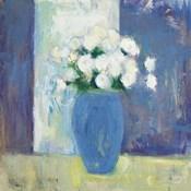 Ranunculi in Blue Vase White Flowers