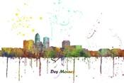 Des Moines Iowa Skyline Multi Colored 1