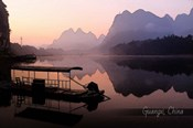 Vintage Boat on River in Guangxi Province, China, Asia