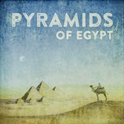 Vintage Pyramids of Giza with Camels, Egypt, Africa