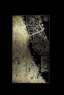 Gold Foil City Map Chicago on Black