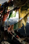 Prayer flags on Summit of Gokyo Ri, Everest region, Mt Everest, Nepal