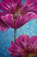 Pink Poppies on Blue