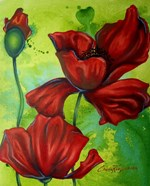 Red Poppies on Green
