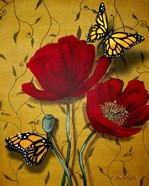 Red Poppies With Yellow Butterflies