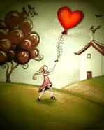 Girl Flying a Heart Balloon