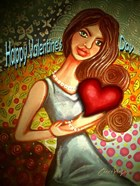 Valentines Day Woman with Heart