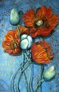 Orange Poppies on Blue