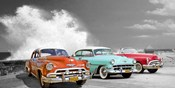 Cars in Avenida de Maceo, Havana, Cuba (BW)