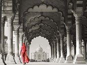 Woman in traditional Sari walking towards Taj Mahal (BW)