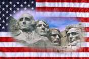 American flag and Mt Rushmore National Monument, South Dakota