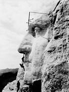 Construction of George Washington's face on Mount Rushmore, 1932