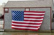 Massachusetts, Nantucket, Flag on boathouse
