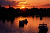 Sunset on Boats in Portsmouth Harbor, New Hampshire