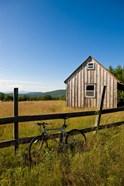 Mountain bike and barn on Birch Hill, New Durham, New Hampshire
