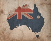 Map with Flag Overlay Australia