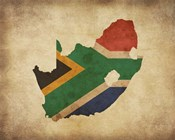 Map with Flag Overlay South Africa
