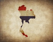 Map with Flag Overlay Thailand