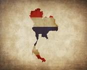 Map with Flag Overlay Thailand