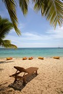 Beach, palm trees and lounger, , Fiji