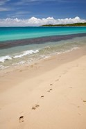 Footprints in sand on Natadola Beach, Coral Coast, Viti Levu, Fiji