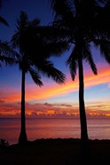 Sunset and palm trees, Coral Coast, Viti Levu, Fiji