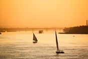 Pair of Falukas and Sightseers on Nile River, Luxor, Egypt