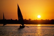 Silhouette of a traditional Egyptian Falucca, Nile River, Luxor, Egypt