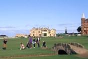 18th Hole and Fairway at Swilken Bridge Golf, St Andrews Golf Course, St Andrews, Scotland
