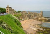 Coastline Beach and Ruins of St Andrews, Scotland