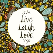 Live Laugh Love Retro Floral Black