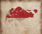 Map with Flag Overlay Singapore