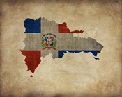 Map with Flag Overlay Dominican Republic