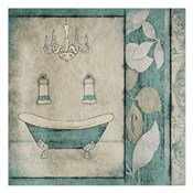 Teal Floral Bath