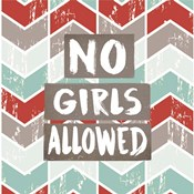 No Girls Allowed Chevron Pattern Red