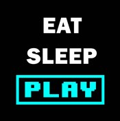 Eat Sleep Play - Black with Blue Text