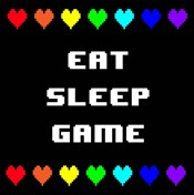 Eat Sleep Game -  Black with Pixel Hearts