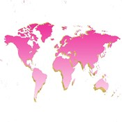 World Map Pink & Gold