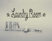 Laundry Room Sign Clothespins Black and White