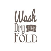 Wash Dry And Fold Brown Text