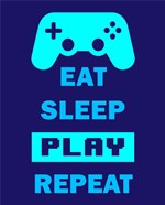 Eat Sleep Game Repeat  - Blue