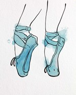 Ballet Shoes En Pointe Blue Watercolor Part I