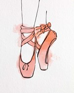 Ballet Shoes En Pointe Orange Watercolor Part III
