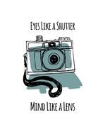 Eyes Like A Shutter Mind Like A Lens Camera Doodle Blue