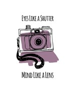 Eyes Like A Shutter Mind Like A Lens Camera Doodle Purple