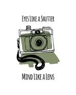 Eyes Like A Shutter Mind Like A Lens Camera Doodle Green