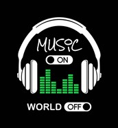 Music On, World Off Headphones Black Background